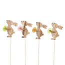 Wooden bunny Speedy to stick, 4 colors, H8cm, gree